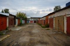 Garage cooperative. Photo of rows of old garage slums stock photos