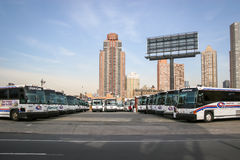 Garage d'autobus à Manhattan Photo stock