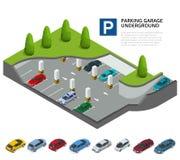 Garage de estacionamiento subterráneo Aparcamiento interior Servicio de estacionamiento urbano del coche Ejemplo isométrico plano stock de ilustración