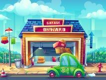 Garage dell'illustrazione del fumetto di vettore con il veicolo illustrazione vettoriale