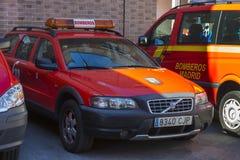 Garage des voitures et de l'équipement du corps de sapeurs-pompiers de ville Images stock