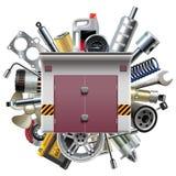 Garage di vettore con i pezzi di ricambio dell'automobile Fotografie Stock Libere da Diritti