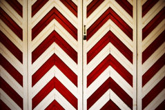 Garage door. With red and white diagonal lines Royalty Free Stock Image