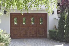 Garage door. Wood garage door Royalty Free Stock Images