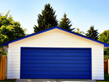 Garage Door. Blue and White Garage Door Stock Images
