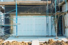 Garage Door Construction Stock Photo