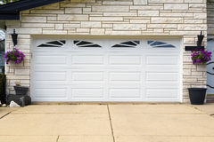 Garage door. Double white wooden garage door stock photography