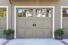 Garage door, isolated. Isolated garage door with white trim royalty free stock image