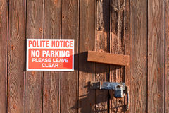 Garage door - no parking sign Stock Images