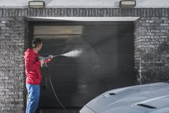 Garage Door Pressure Wash stock image