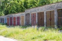 Garage door's in different colors Stock Photography