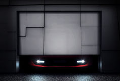 Garage Door. Sports Car behind Garage Door stock photos