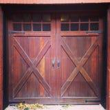 Garage Door. In wood Stock Photo