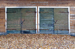 Garage doors  in autumn Stock Image
