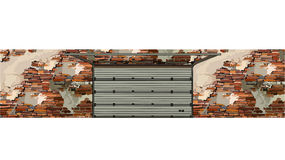 Garage doors in the background of a shabby brick walls Stock Images