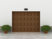 Garage doors. Brown garage doors. Garage concept Royalty Free Stock Images