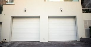 Garage doors at a modern building Royalty Free Stock Photos