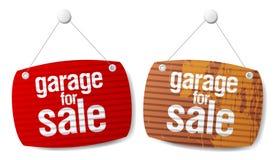 Garage für Verkaufszeichen Stockbild