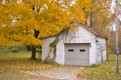 Garage in fall Stock Photo
