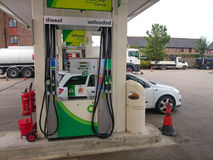 Garage forecourt. Petrol station supplying fuel to cars vans and lorries Stock Photos