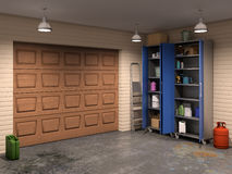 Garage with garage doors Stock Photos