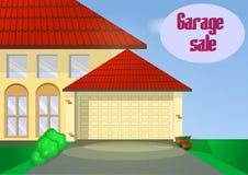Garage of Garage sale met tekens, doos en huishoudenpunten Stock Foto's