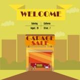 Garage of Garage sale met tekens, doos en huishoudenpunten Stock Fotografie