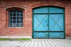Garage gate. Old green wood garage gate way Royalty Free Stock Photos