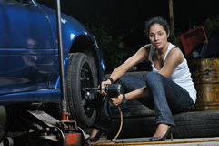 Garage Girl Royalty Free Stock Images