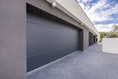 Garage of a house. Wide garage of a modern house royalty free stock photo
