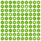 100 garage icons hexagon green. 100 garage icons set in green hexagon isolated vector illustration Stock Image
