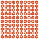 100 garage icons hexagon orange. 100 garage icons set in orange hexagon isolated vector illustration Royalty Free Stock Images