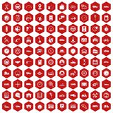 100 garage icons hexagon red. 100 garage icons set in red hexagon isolated vector illustration Royalty Free Stock Images