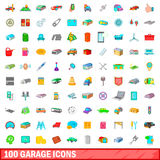 100 garage icons set, cartoon style Royalty Free Stock Images