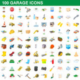 100 garage icons set, cartoon style Stock Photo