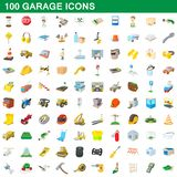 100 garage icons set, cartoon style. 100 garage icons set in cartoon style for any design illustration royalty free illustration