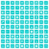 100 garage icons set grunge blue Stock Photography