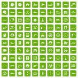 100 garage icons set grunge green Stock Photos