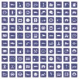 100 garage icons set grunge sapphire. 100 garage icons set in grunge style sapphire color isolated on white background vector illustration Royalty Free Stock Image