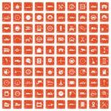 100 garage icons set grunge orange. 100 garage icons set in grunge style orange color isolated on white background vector illustration Stock Photos