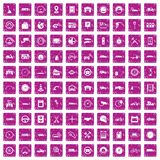 100 garage icons set grunge pink. 100 garage icons set in grunge style pink color isolated on white background vector illustration Royalty Free Stock Photos