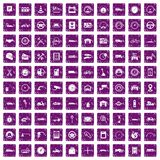 100 garage icons set grunge purple. 100 garage icons set in grunge style purple color isolated on white background vector illustration Royalty Free Stock Photo