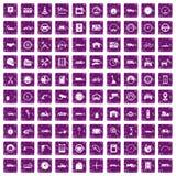 100 garage icons set grunge purple. 100 garage icons set in grunge style purple color isolated on white background vector illustration royalty free illustration