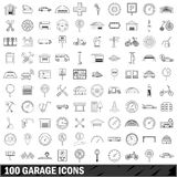 100 garage icons set, outline style. 100 garage set in outline style for any design illustration stock illustration
