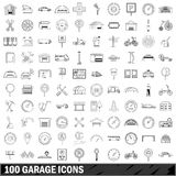 100 garage icons set, outline style Stock Photography