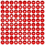 100 garage icons set red. 100 garage icons set in red circle isolated on white vector illustration Stock Image