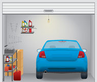 Garage. Interior with blue car inside, eps 10 Stock Photos