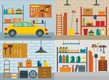 Garage interior car banner concept set, flat style vector illustration