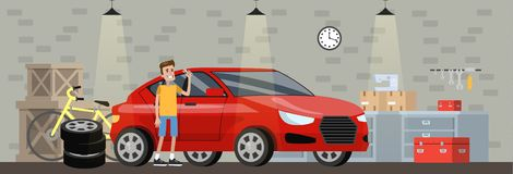 Garage interior in the house with red car. Man repair automobile. Fixing vehicle and changing tire. Bicycle standing at the wall. Vector flat illustration vector illustration