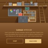 Garage Interior. Machine Service Flat Banner. stock photos